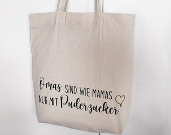 Cotton bag   Grandmas, like mums, are only   with icing sugar with personalization   Saying   Shopping bag   Jute bags   small-fine