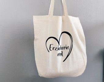 Cotton bag   Educator with heart   Saying   Kindergarten   Shopping bag   Jute bag   Fabric bag   small fine beauty
