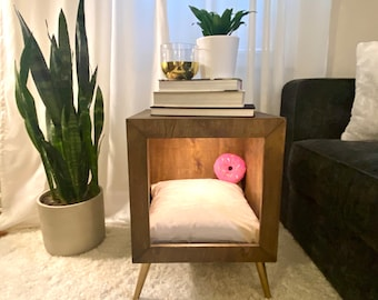 Dog Bed,End Table dog bed,Dog Bed furniture,Small Dog bed,Modern dog bed,Annie Sloan chalk paint non toxic for dog bed,Boho Dog Bed,Pet bed
