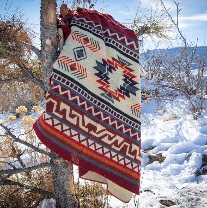 Alpaca Wool Camping Blanket From Ecuador Boho Geometric Design