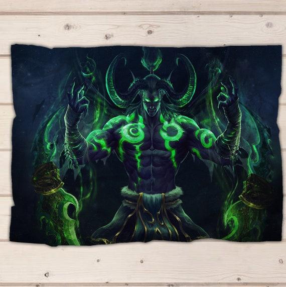World of warcraft blanket, Burning crusade Illidan fleece blanket, soft blanket, bedding, baby blanket, adult blanket