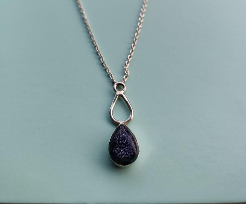 Blue Sunstone Pendant Necklace Valentine Gift Sunstone Pendant Gemstone Necklace Silver Jewelry Crystal Necklace
