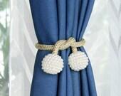 2 Pearl Magnetic Curtain Tiebacks: 2 Pack Decorative Drape Tie Backs Rope Holdback Holder for Window Drapries Shower Curtain