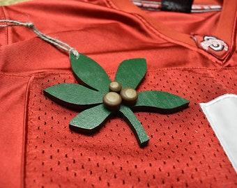 Buckeye Ornament // Buckeye Leaf // Wooden Buckeye Ornament