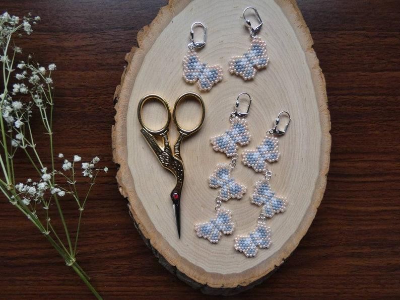 Pretty Gray White Beautiful Trendy Lightweight Long Silver Statement Earrings Fun Peach 90/'s Beautiful Glass Butterfly Earrings