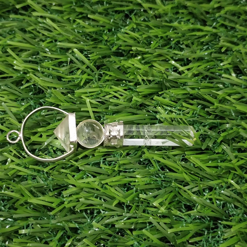 crystal quartz tower  Pendant Stone Natural Gemstone white metal  Pencil Point tower Pendant Gemstone