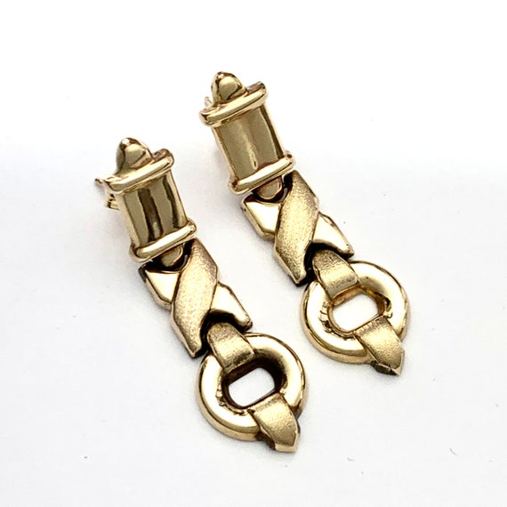 Vintage 9CT Gold Articulated Chain Link Earrings