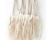 Fishnet market bag String bag Shopping Bag , reusable shopping grocery bag tote, mesh,by Ekolojee Gift zero waste packaging