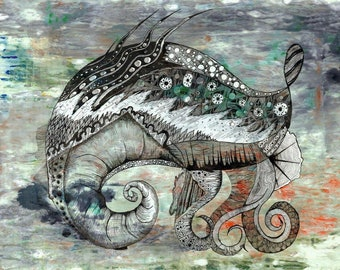 SEA SNAIL, drawing, rapidograph, ink, monotype, 50x70