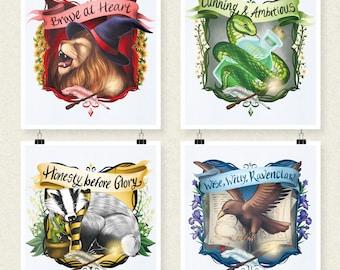 Hogwarts Houses - Gryffindor Slytherin Ravenclaw Hufflepuff  house banner
