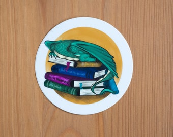 Fantasy Dragon on a Pile of Books - Sticker
