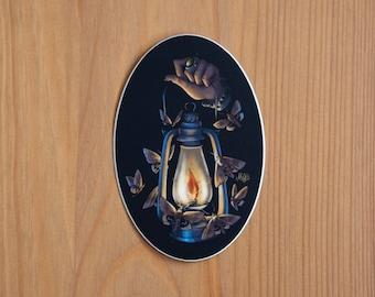 Moth to A Flame Sticker - Dark Academia