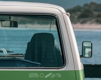 Bumper Sticker Camper Beach-Set - white