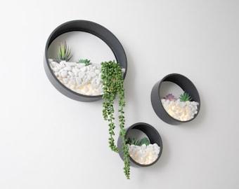 Wall Planters Circular 3 Set Inc Artificial Plants LED Lights Pearl White Stones