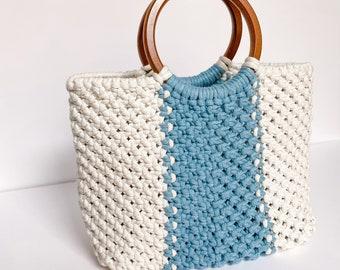 Handmade Macrame Bag with Wooden Handles | Woven Tote Bag