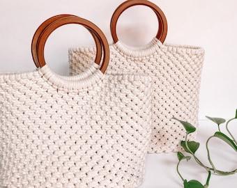 Macrame Bag | Hand Bag | Boho Purse | Handmade Tote Bag with Wooden Handles