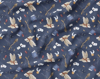 PUL fabric, cloth diaper fabric, Magical navy blue pattern. Exclusive pattern.