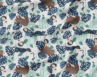PUL fabric, cloth diaper fabric, Jungle book white pattern. Exclusive pattern.