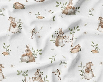 Recycled PUL fabric, cloth diaper fabric, Rabbits pattern. Exclusive pattern.