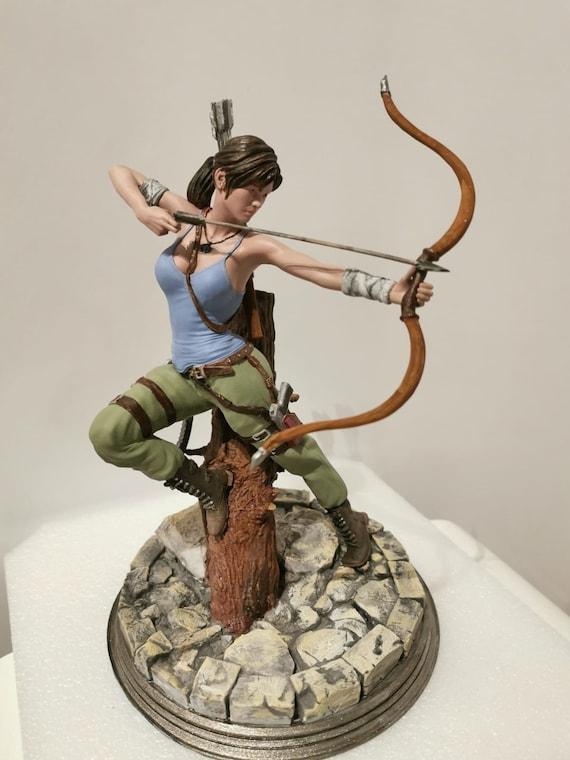 """Lara Croft Tomb Raider """"bow and arrow"""" 3D printed model SLA custom artist painted"""