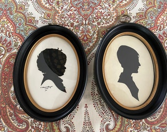 Two framed Silhouette Portraits, Mother and Child