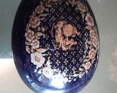 Limoges Egg shaped trinket box deep blue with gold detailing