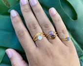 Crystal Bead Rings, Elastic Ring, Stackable Beaded Ring, Moonstone Ring, Citrine Ring, Amethyst Ring