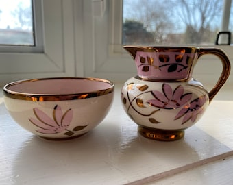 Vintage Sandland Ware Sugar Bowl and Creamer Set Hanley England Copper Lustre Pink Flowers