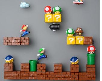 Super Mario Fridge Magnet Set,3D Magnet Set, Cute Cartoon Fridge Magnet, Super Mario Fridge Magnet, Fridge Magnet Set, Home Decoration,Gift.