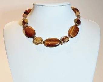 Especial For Deflects Negative Energy Gift for Her 8 mm Round Beaded Handmade Rock Choker Necklace,Wyoming Picture Jasper