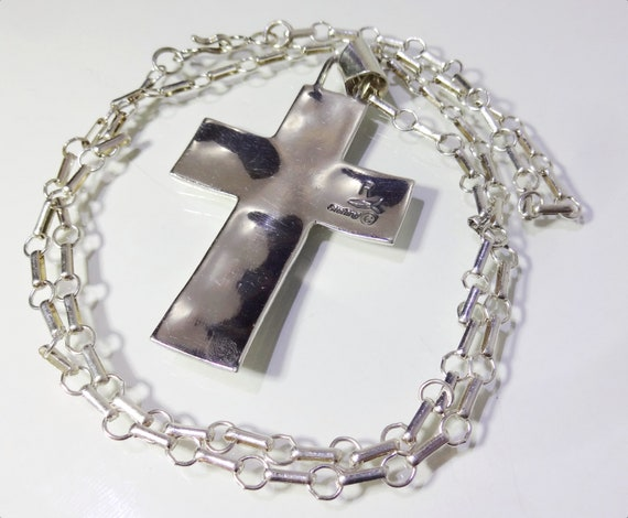 Navajo Cross Pendant Necklace, Sterling Silver Th… - image 2