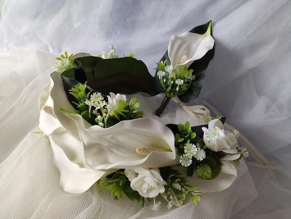 Bridal white zantedeschia flower crown and groom's bouquet.