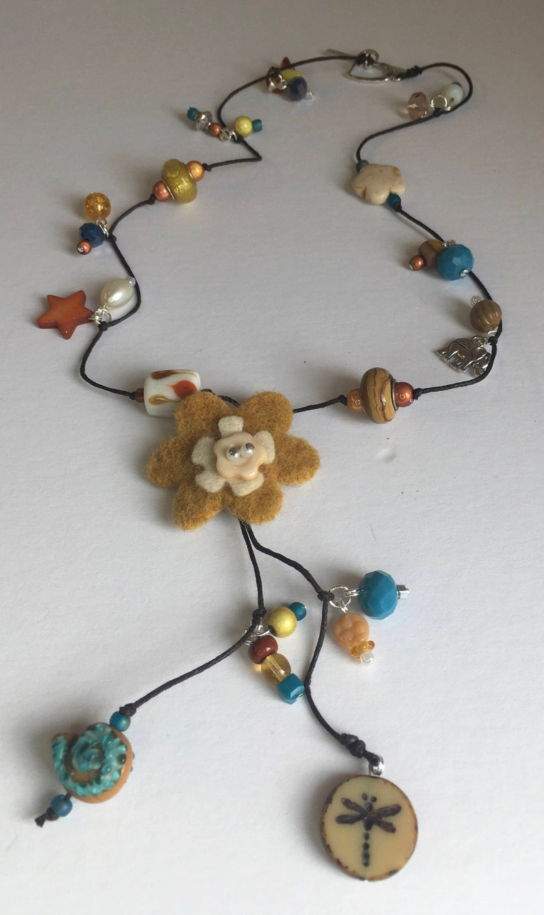 Beaded Necklace with Felt Flower in Mustard and Blue