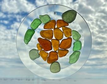 "Sea Turtle Seaglass Suncatcher Ornament - 3 or 4"" - Handmade to Order"