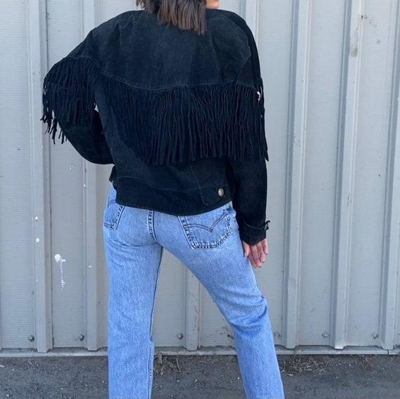Vintage Black Suede Fringe Jacket