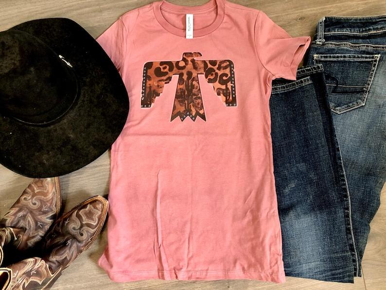 thunderbird cheetah turquoise rodeo Western graphic t shirt tribal