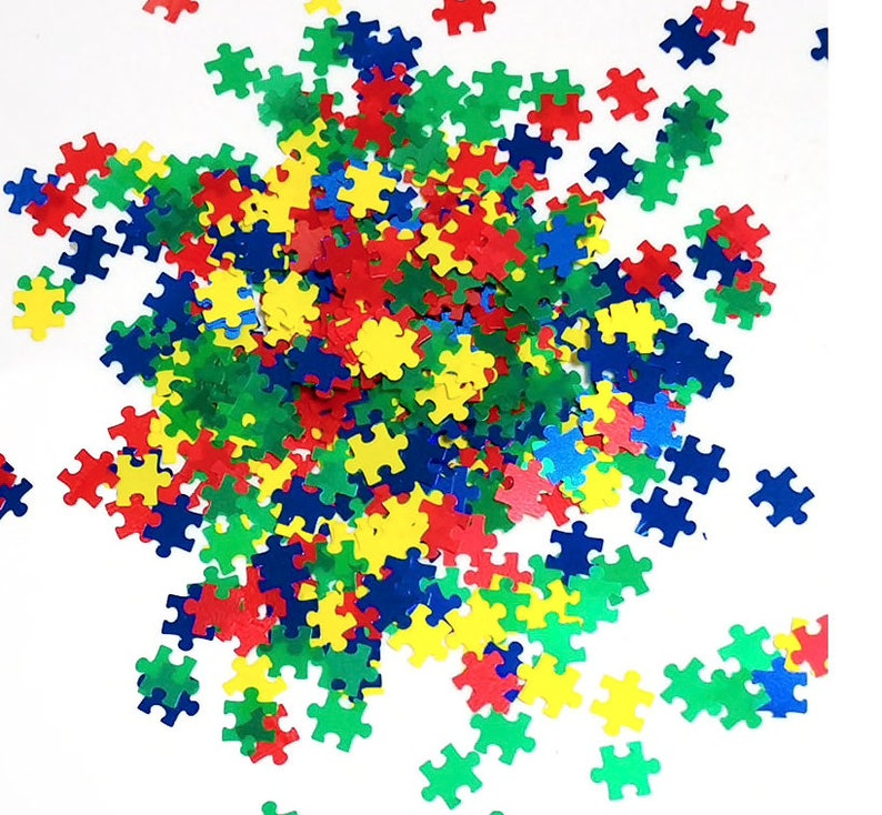 Nail Art Glitter Shapes Polyester glitter  1Tsp Bag Autism Awareness Crafts Multi-Color School Colors Puzzle Pieces