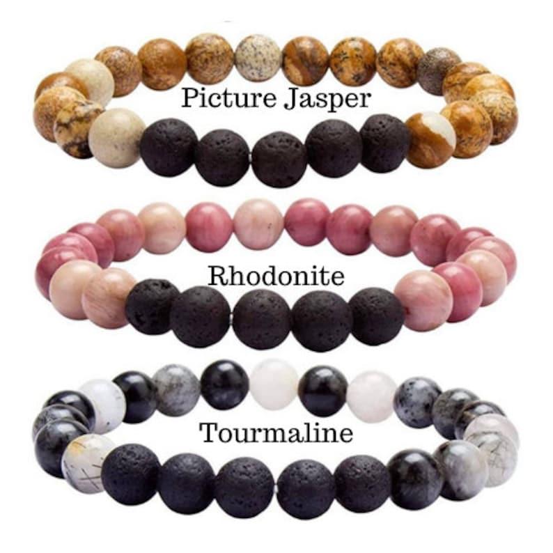 Lava Rock  Precious Gemstone Essential Oil Bracelet