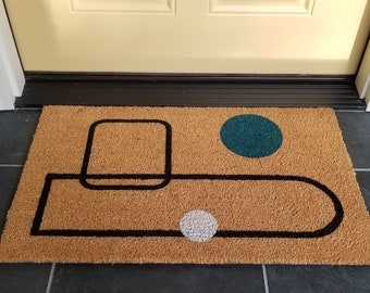 Abstract welcome mat, Teal white and black Midcentury Modern front entry mat, Teal and white dot outdoor mat, Teal welcome mat, Abstract dot