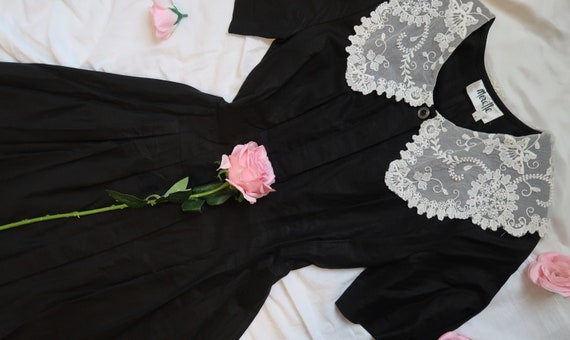 Sweet 1980s does 1940s Black Midi Dress With Lace