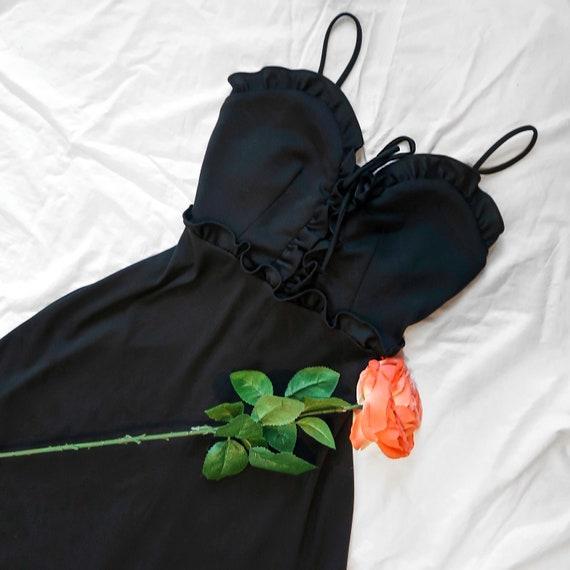 1970s Black Prairie Corset Dress