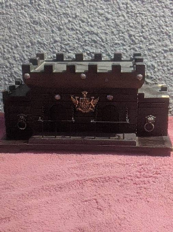 Beautiful Vintage Wooden Medieval Jewelry Box