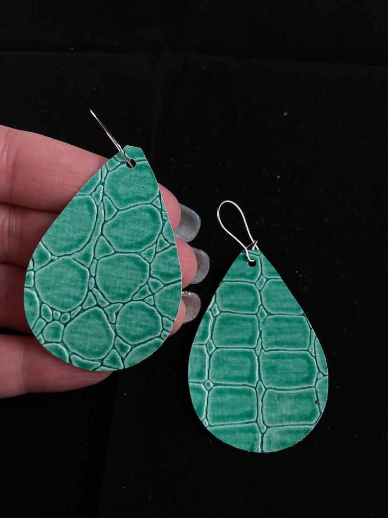 Mint green faux leather earrings