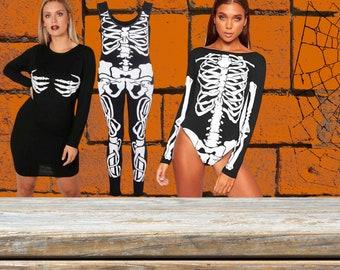 New Ladies Halloween Skeleton Print Bodycon Choler Neck T Shirt Dress UK 8-26