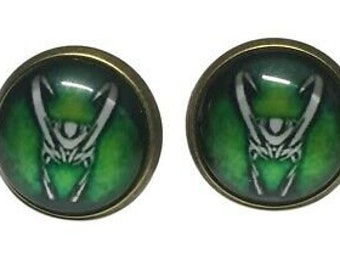 Loki Helmet Glass Domed Metal Pendant Necklace And Stud Earrings Set