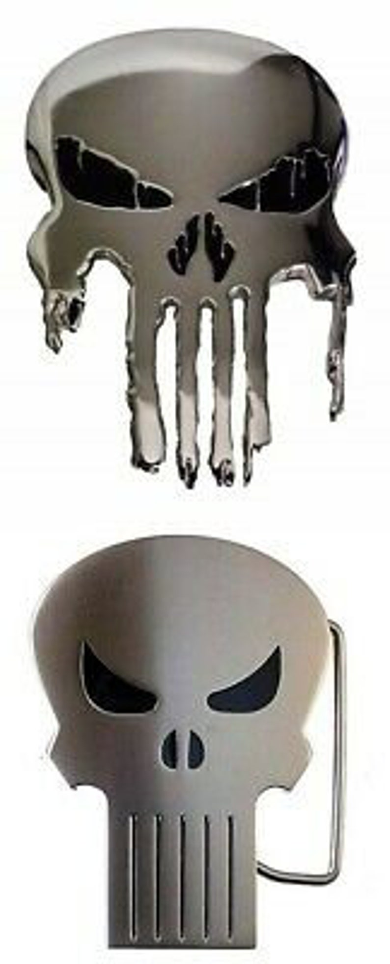 Comic Book Skull Logo Enamel Metal Belt Buckle Set of 2