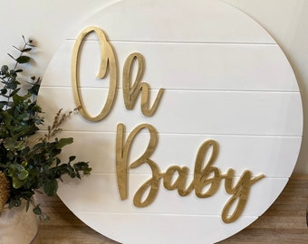 Details about  /Oh Baby Sign MADE IN AUSTRALIA Wood Wall Hoop 30cm 90cm Shower birth nursery