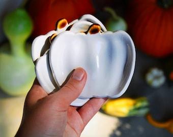white handmade cermic pumpkin spoon rest