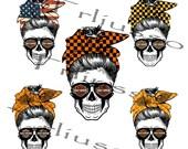 Motorcycle Biker Mom Skull 5 FILE Png,4th Of July,Mom Skull File For Shirt,Mug,Biker Life,Mom Bun,Sugar Skull,Hashtag-VB58
