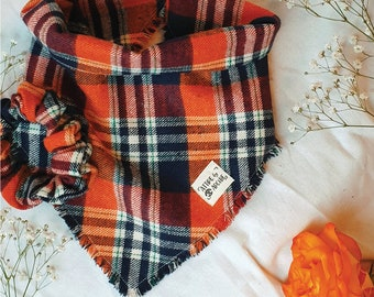 Puppy Gift Matching Owner Gift Set Fathers Day Dog Bandana Ruby Plaid New Pet Gift Mothers Day